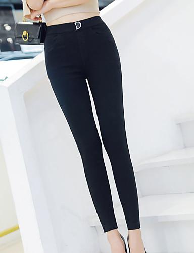 preiswerte Damen Leggings-Damen Grundlegend Legging - Solide, Gerüscht Hohe Taillenlinie Schwarz M L XL