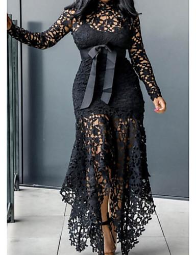 preiswerte Sexy Kleider-Damen Elegant Hülle Kleid - Spitze, Solide Asymmetrisch