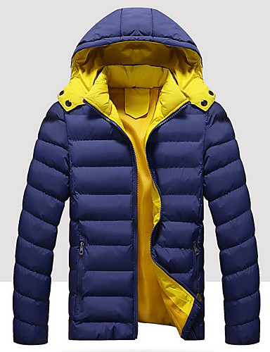 levne Pánské kabáty a parky-Pánské Jednobarevné Větší velikosti S vycpávkou, Polyester Černá / Vodní modrá / Rubínově červená US32 / UK32 / EU40 / US34 / UK34 / EU42 / US36 / UK36 / EU44