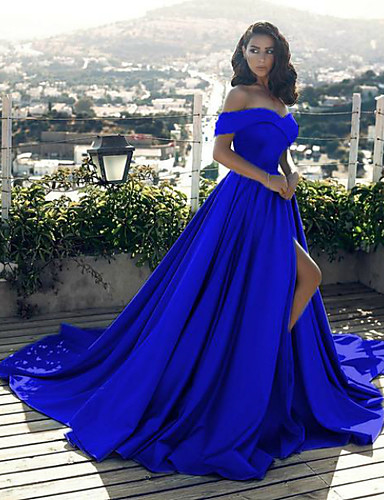 cheap Evening Dresses-A-Line Minimalist Sexy Prom Formal Evening Dress Off Shoulder Sleeveless Chapel Train Satin with Split Front 2020