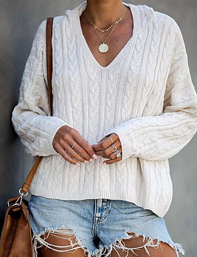 Női Színes Hosszú ujj Pulóver Pulóver jumper, V-alakú Tél Fehér / Bíbor / Khakizöld S / M / L