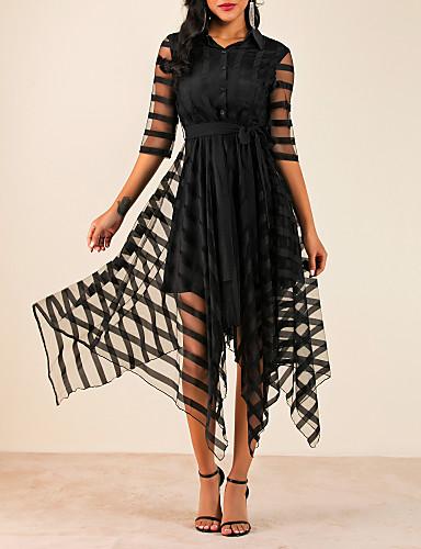 preiswerte Modische Kleider-Damen Elegant A-Linie Kleid Solide Asymmetrisch Hemdkragen
