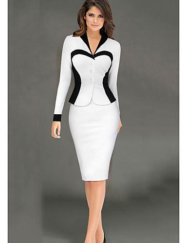 levne Pracovní šaty-Dámské Elegantní Pouzdro Šaty - Jednobarevné Délka ke kolenům