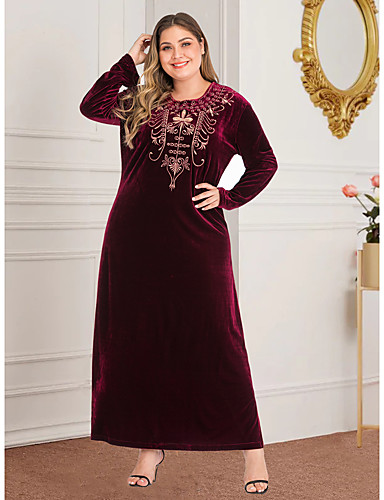 preiswerte Übergrössen-Damen-Damen Retro Grundlegend Etuikleid Abaya Kleid - Gespleisst Bestickt, Geometrisch Maxi