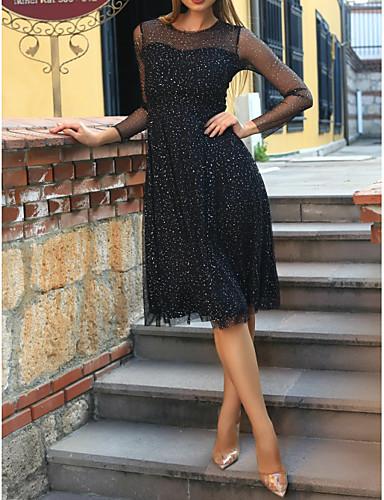 preiswerte Schwarze Partykleider-A-Linie Schmuck Knie-Länge Tüll Kleines Schwarzes Kleid Cocktailparty Kleid mit Kristall Verzierung durch LAN TING Express