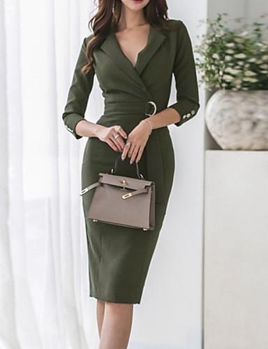 levne Pracovní šaty-Dámské Pouzdro Šaty - Jednobarevné Délka ke kolenům