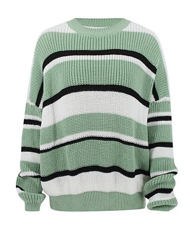 billige Dametopper-Dame Stripet / Fargeblokk Langermet Cardigan Grønn S / M / L