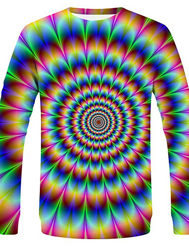 cheap Plus Sizes Men's T-Shirts-Men's Daily Holiday Street chic / Exaggerated EU / US Size T-shirt - Striped / Paisley / Graphic Round Neck Rainbow / Long Sleeve