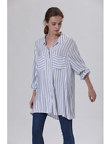 billige Skjorter til damer-tunika Dame - Stripet, Drapering / Flettet Vintage / Elegant Tropisk blad / Kran / Ananas Lyseblå