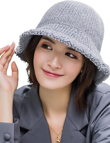 Női Egyszínű Akril Kötöttáru,Party Alap aranyos stílus-Halász sapka Széles karimájú kalap Szalmakalap Ősz Tél Fekete Bor Arcpír rózsaszín