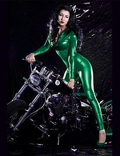 povoljno Maske i kostimi-Zentai odijela Catsuit Odijelo za kožu Djevojka za motocikle Odrasli vještačka koža Lateks Cosplay Nošnje Leotards Žene Crn / Teal / Blushing Pink Jednobojni Halloween Karneval
