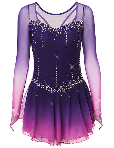 cheap Ice Skating-Figure Skating Dress Women's Girls' Ice Skating Dress Black Deep Blue Dark-Gray Open Back Spandex Stretch Yarn High Elasticity Training Competition Skating Wear Handmade Solid Colored Classic Crystal