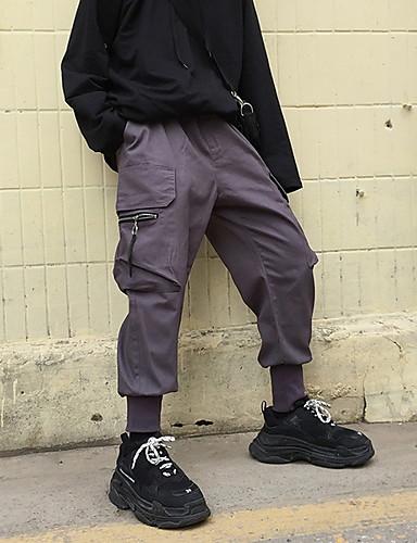 levne Pánské módní oblečení-Pánské Základní Kalhoty chinos Kalhoty - Jednobarevné Černá Šedá US36 / UK36 / EU44 US38 / UK38 / EU46 US40 / UK40 / EU48