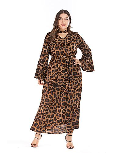 levne Maxi šaty-Dámské Základní Elegantní Swing Šaty - Leopard Maxi