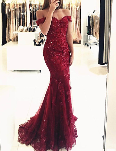 cheap Wedding Dresses-Mermaid / Trumpet Off Shoulder Sweep / Brush Train Lace Sparkle / Red Prom / Formal Evening Dress with Sequin / Appliques 2020