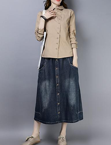 billige Dametopper-Skjorte Dame - Ensfarget Vintage / Elegant Hvit