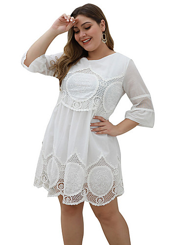 voordelige Grote maten jurken-Dames Standaard A-lijn Jurk - Geometrisch Boven de knie