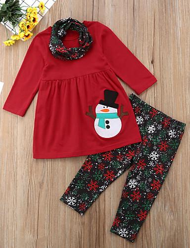 Gyerekek Lány Alap Hétköznapi viselet Mértani Karácsony Nyomtatott Hosszú ujj Szokványos Ruházat szett Rubin