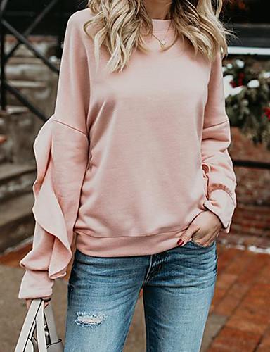 billige Dametopper-T-skjorte Dame - Ensfarget, Drapering Rosa