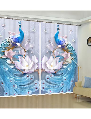 preiswerte WIEDER AUF LAGER-Geprägte blau Pfau kreatives Design Digitaldruck 3D-Vorhang Schattierung kreative Vorhang hochpräzise schwarzer Seide hochwertige erstklassige Schattierung Vorhang