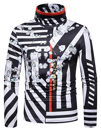 voordelige Heren T-shirts & tanktops-Heren Standaard / Street chic Patchwork / Print T-shirt Kleurenblok / 3D Zwart