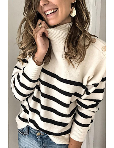 cheap Pre Sale-Women's Striped Long Sleeve Pullover Sweater Jumper, Turtleneck White M / L / XL