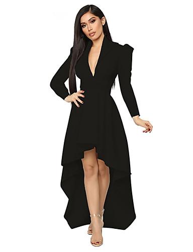 levne Maxi šaty-Dámské Základní A Line Šaty - Jednobarevné Asymetrické