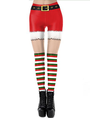 cheap Leggings-Women's Dailywear / Yoga Sporty / Basic Legging - Geometric, Print Mid Waist Red S M L