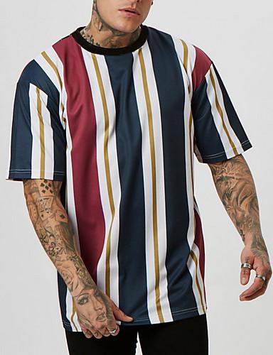 voordelige Heren T-shirts & tanktops-Heren Standaard T-shirt Kleurenblok Paars