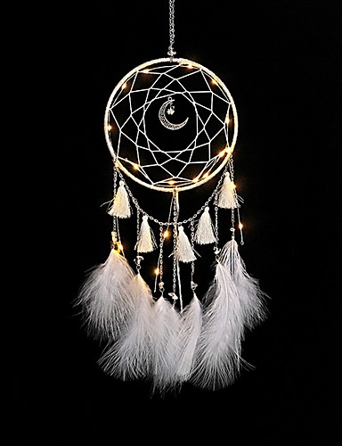cheap white season-1 pcs Bohemia Feather Dreamcatcher With LED Lights For Wall Hanging Decoration