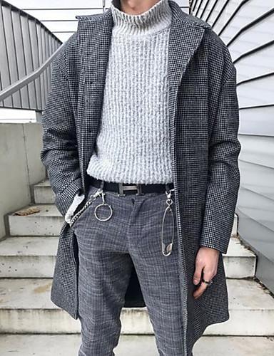 voordelige Herenmode-Heren Dagelijks Winter Normaal Jas, Ruitjes Strijkijzer Lange mouw Polyester blauw