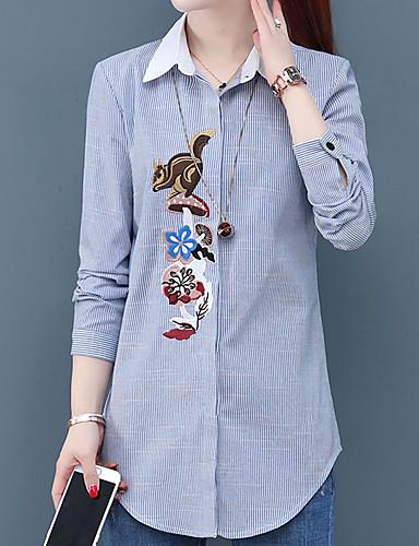 billige Skjorter til damer-Skjorte Dame - Stripet, Broderi Chinoiserie Blå