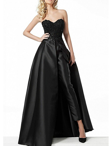 cheap Evening Dresses-Jumpsuits Hot Black Prom Formal Evening Dress Sweetheart Neckline Sleeveless Floor Length Polyester with Overskirt Appliques 2020