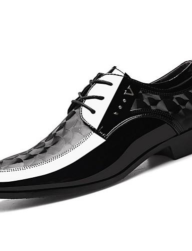 billige Oxford-sko til herrer-Herre Komfort Sko PU Høst vinter Oxfords Svart / Brun