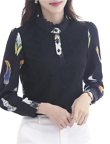 billige Dametopper-Skjorte Dame - Blomstret, Blonde Chinoiserie Svart