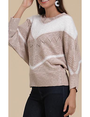 billige Dametopper-Dame Stripet Langermet Løstsittende Pullover Genserjumper, V-hals Vinter Bomull Rosa / Blå / Kakifarget S / M / L