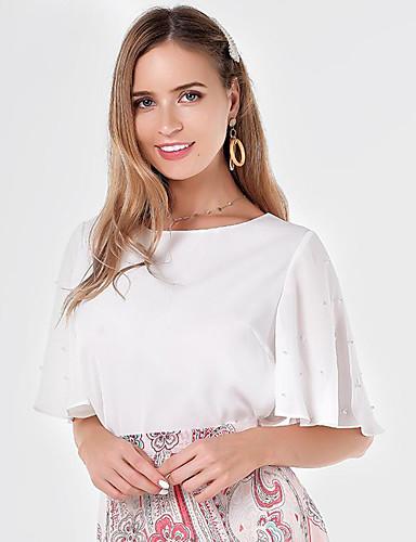 billige Dametopper-Bluse Dame - Ensfarget, Drapering / Lapper Grunnleggende Hvit Hvit