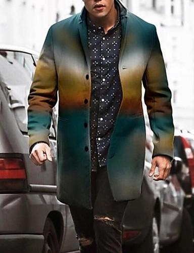 voordelige Herenmode-Heren Dagelijks Winter Normaal Jas, Kleurenblok Opstaand Lange mouw Polyester blauw