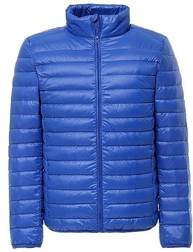 levne Pánské kabáty a parky-Pánské Jednobarevné Dlouhý kabát, Polyester Černá / Fialová / Světle šedá US32 / UK32 / EU40 / US34 / UK34 / EU42