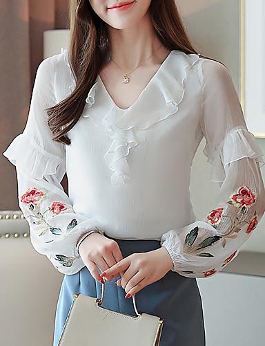 billige Skjorter til damer-Skjorte Dame - Blomstret, Drapering / Broderi Elegant Hvit