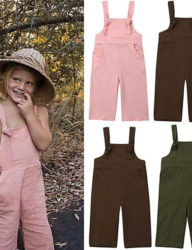 Baba Lány Alap Egyszínű Nyitott hátú / Fűzős Ujjatlan Overáll és kezes-lábas Arcpír rózsaszín