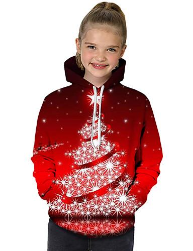 preiswerte ChristmasJumpers-Kinder Baby Mädchen Aktiv Grundlegend Tropisches Blatt Weihnachtsmann Geometrisch Galaxis Einfarbig Druck Langarm Kapuzenpullover Rote