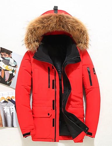 levne Pánské kabáty a parky-Pánské Jednobarevné Dlouhý kabát, Polyester Černá / Bílá / Rubínově červená US32 / UK32 / EU40 / US36 / UK36 / EU44 / US38 / UK38 / EU46