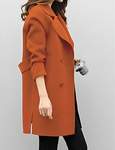 levne Dámské kabáty a trenčkoty-Dámské Denní Základní Dlouhé Kabát, Jednobarevné Přehnutý Dlouhý rukáv Polyester Černá / Trávová zelená / Khaki