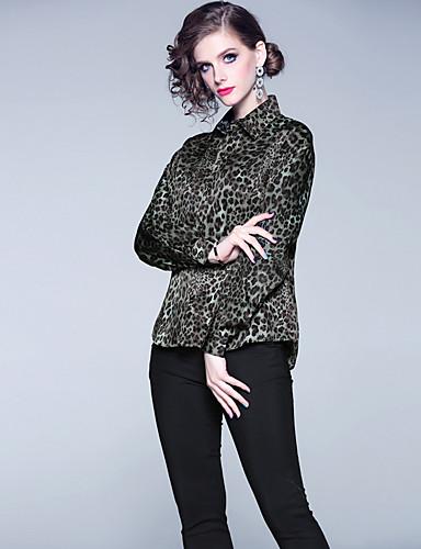billige Dametopper-Skjorte Dame - Leopard, Lapper Vintage / Elegant Grønn