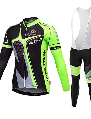 cheap Cycling Jersey & Shorts / Pants Sets-Malciklo Men's Long Sleeve Cycling Jersey with Bib Tights Winter Coolmax® Lycra Yellow Red Blue British Bike Jersey Bib Tights Clothing Suit Breathable 3D Pad Quick Dry Back Pocket Sports Classic
