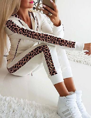 billige Dametopper-Dame Fritid Aktive Klær Sett Leopard