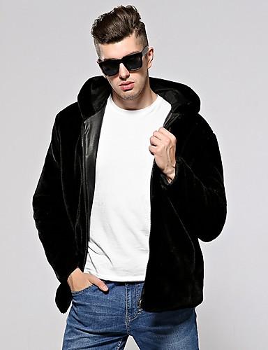 levne Pánská saka a kabáty-Pánské Denní Podzim zima Standardní Faux Fur Coat, Jednobarevné Kapuce Dlouhý rukáv Umělá kožešina Černá / Stříbrná / Námořnická modř