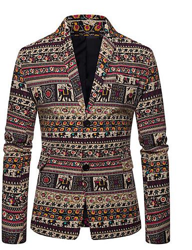 levne Pánské blejzry a saka-Pánské Obleky, Geometrický Košilový límec Polyester Béžová