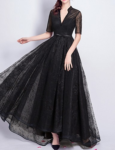 cheap Clearance-A-Line Elegant Formal Evening Dress V Neck Short Sleeve Floor Length Lace with Sash / Ribbon Beading 2020